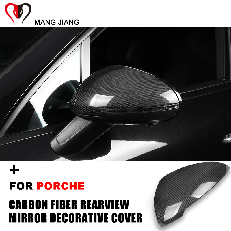 Hot For Porsche Panamera Cayenne Macan Cayman <font><b>718</b></font> <font><b>Boxster</b></font> Real <font><b>Carbon</b></font> <font><b>Fiber</b></font> Rearview Mirror Protective Cover Case Shell Sticker image