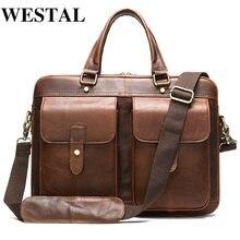 Westal мужской портфель мужская сумка из натуральной кожи 15