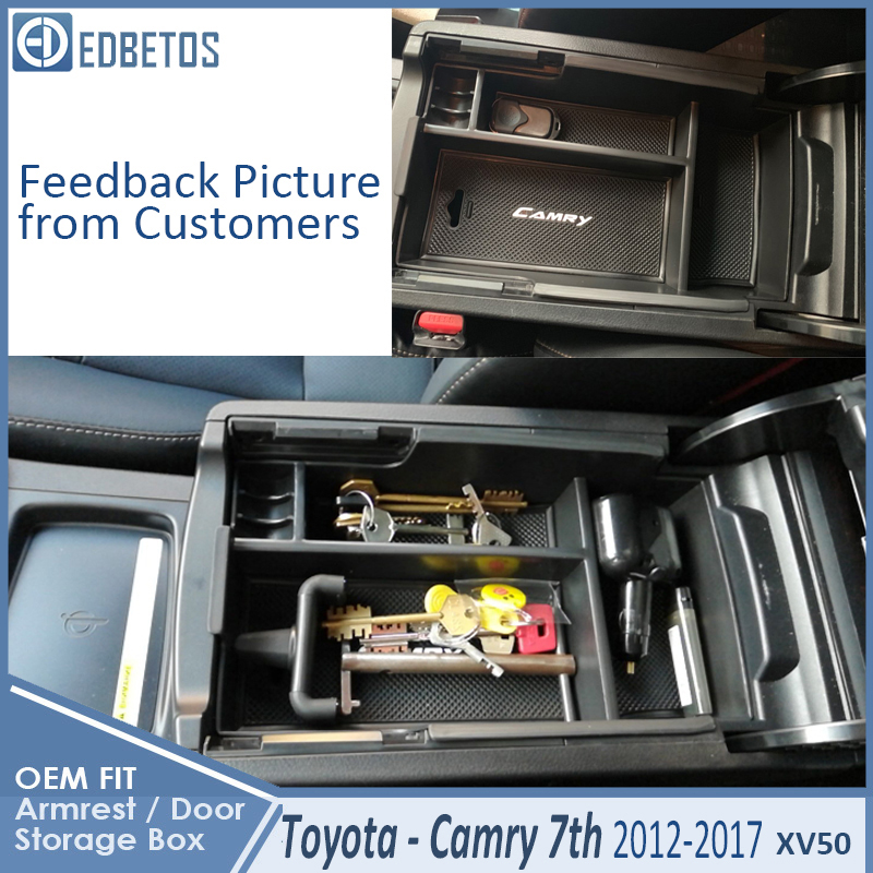 * Camry Car Armrest Box Center Console Storage Glove Box Organizer Insert Tray For Toyota Camry 2012 2013 2014 2015 2016 2017 2