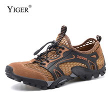 YIGER New Mens casual lace-up summer Cross country shoes Running man hiking male Casual walking Net 0348