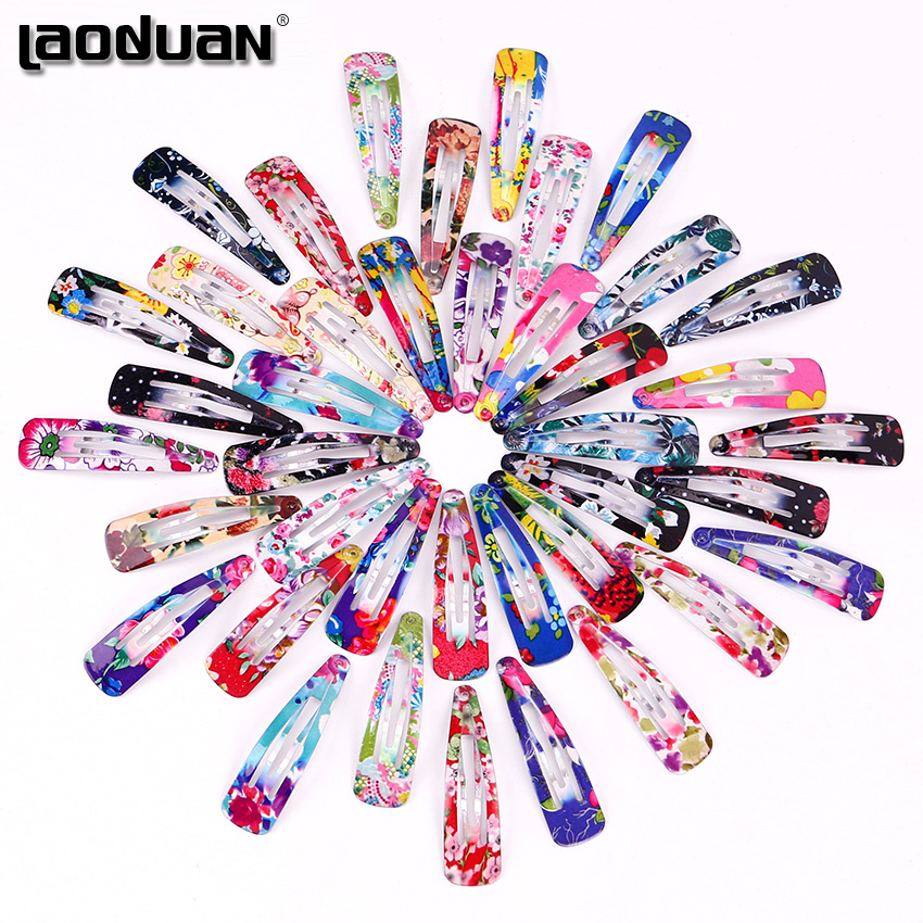 10PCS/Set Fashion Water Droplets Shapes Kids Print Floral Colorful Hairpins Girls Children Cute Hair Clips Hair Accessories