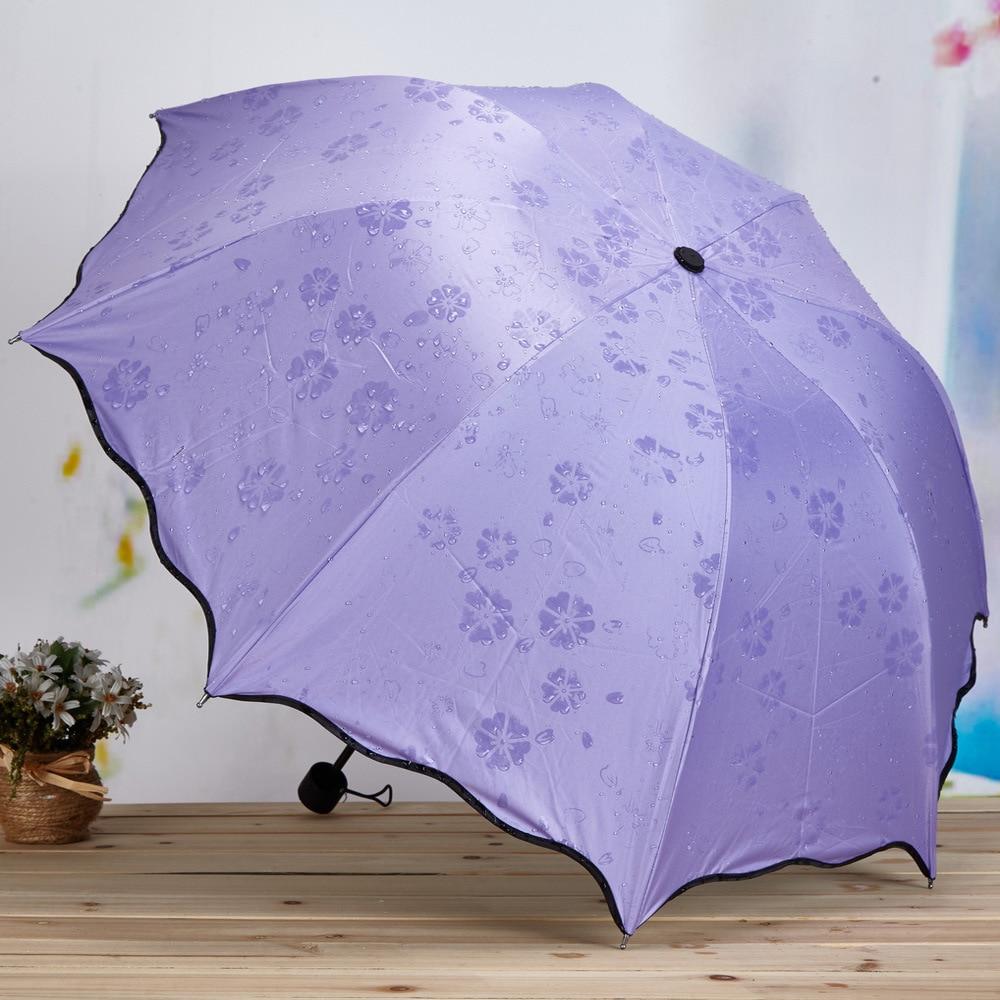Женский зонт с волшебными цветами, складной зонт от дождя и ветра, складной зонт от солнца и дождя с защитой от УФ-лучей