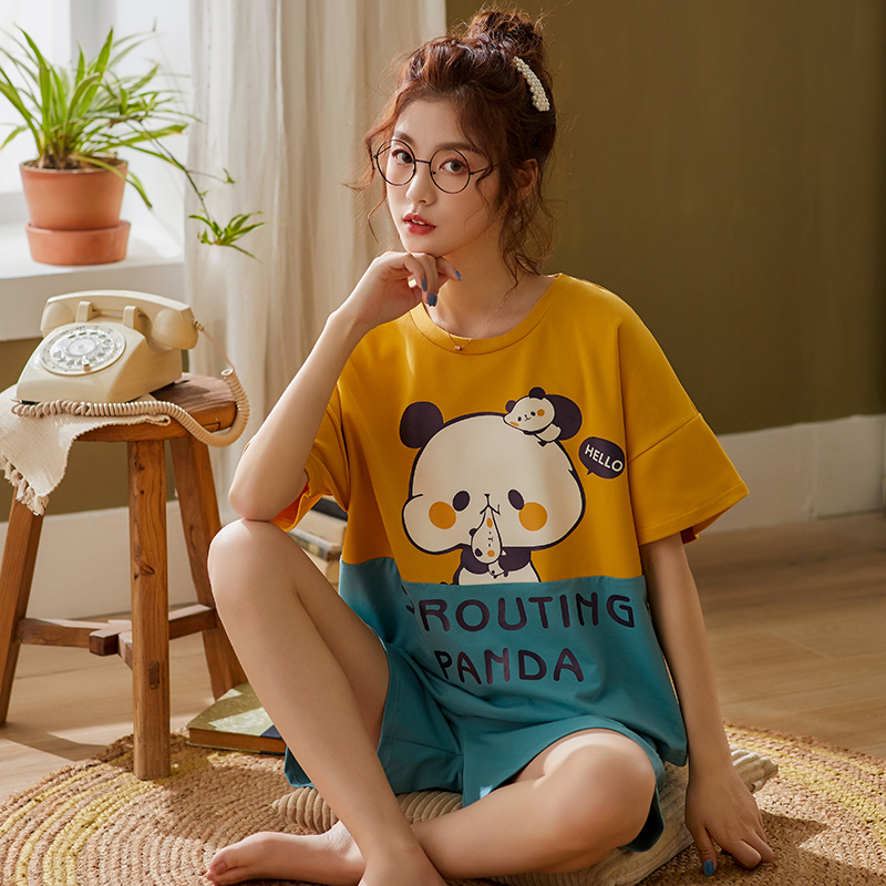 BZEL Cotton Sleepwear Women's Patchwork Style Pijama Loose Pajamas Set Cartoon Round-neck Home Wear Suit Pyjama Lounge Wear