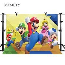 Супер Марио Фото фоны детский душ Мультфильм фотографии фон детский день рождения баннер для украшения вечеринки фон