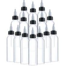 50Pcs 30ml 60ml 100ml 120ml Plastic Empty Tattoo Ink Bottle Twist Top Black Cap Transparent Clear Bottle Tattooing Accessories