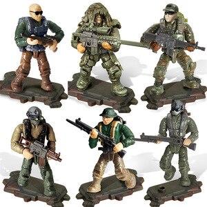 Image 2 - 도시 SWAT 피규어 빌딩 블록 메가 현대 군사 전장 군인 경찰 육군 무기 입상 액션 피규어 장난감 선물