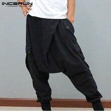 Man Cotton Cozy Pantalones INCERUN Men Drop Crotch Pants Leisure Solid Color Harem Pants Fashion Buttons Elastic Trousers S-5XL