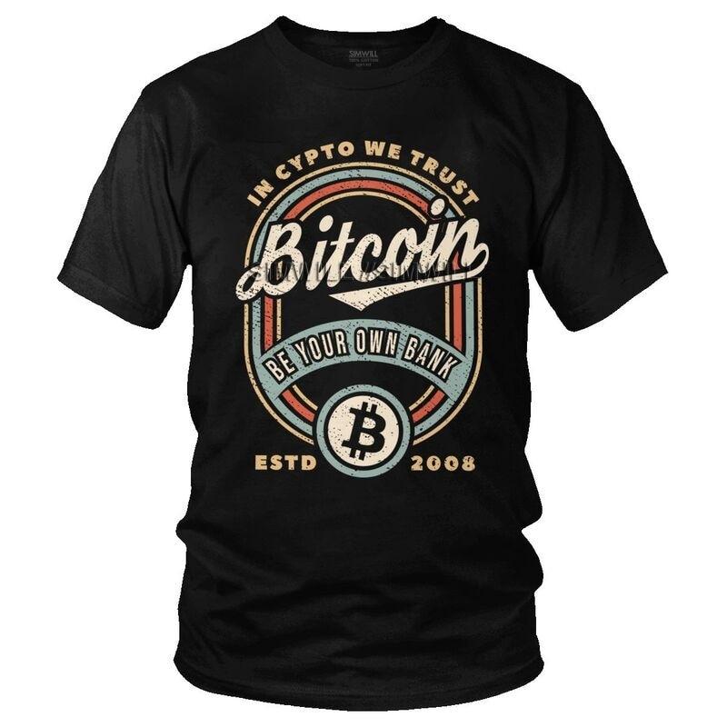 Vintage Bitcoin In Crypto We Trust T-shirt Men Fashion T Shirt Short Sleeve Blockchain BTC Fan Tshirt 100% Cotton Tee Top Clothe 1