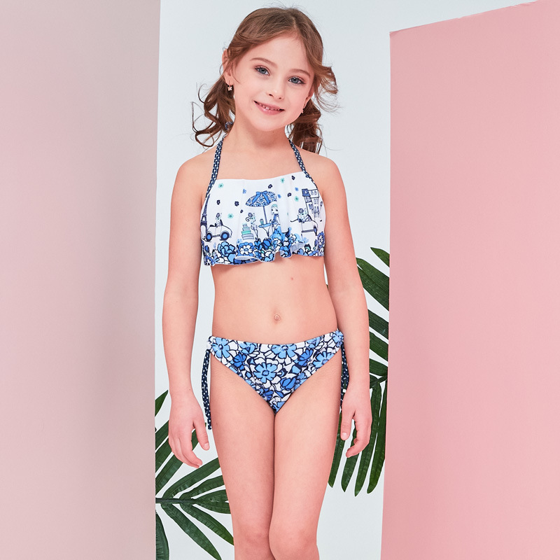 2019 New Style Hot Sales Split Type Bikini Bathing Suit Halter Triangle Floral-Print Backless Girls Baby Girls KID'S Swimwear