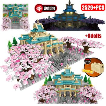2529pcs 2020 New Cherry Blossom Season Architecture Building Blocks City Street View Tree House Flower Bricks Toys for Girls
