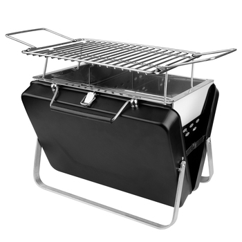 Portable Charcoal Grill Foldable Stainless Steel BBQ Tool Barbecue Grill Black Barbecue Grill for Indoot Outdoor Camping Picnics