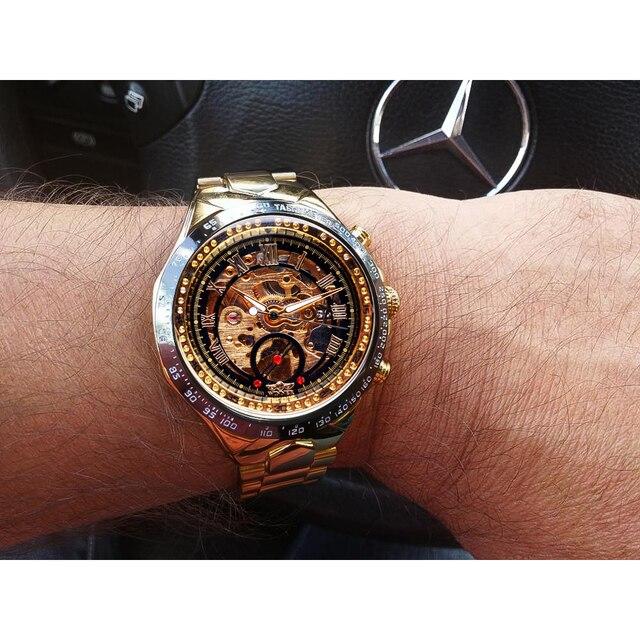 Winner Mechanical Sport Design Bezel Golden Watch Mens Watches Top Brand Luxury Montre Homme Clock Men Automatic Skeleton Watch 4