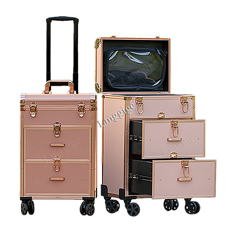 Dresser Suitcase ,Aluminum Frame+PVC Cosmetic Case, Wheels Makeup Tool Box ,beauty Rolling Luggage Bag, Make-up Trolley