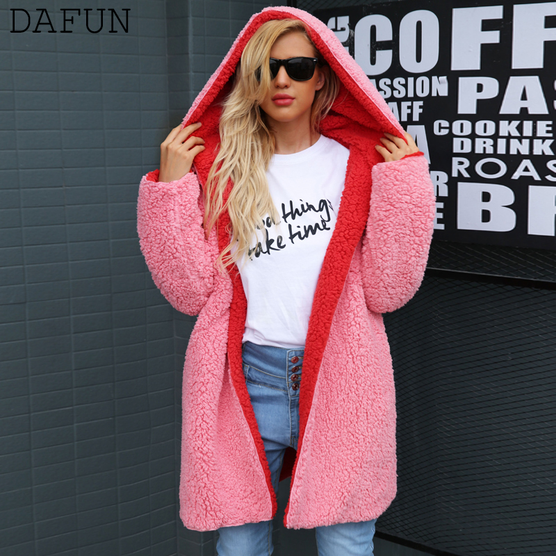 Teddy Coat Jacket Faux Fur Coat Cardigan Reversible Outerwear Autumn Winter Hooded Long Trench Coat Casaco Feminino Plus Size