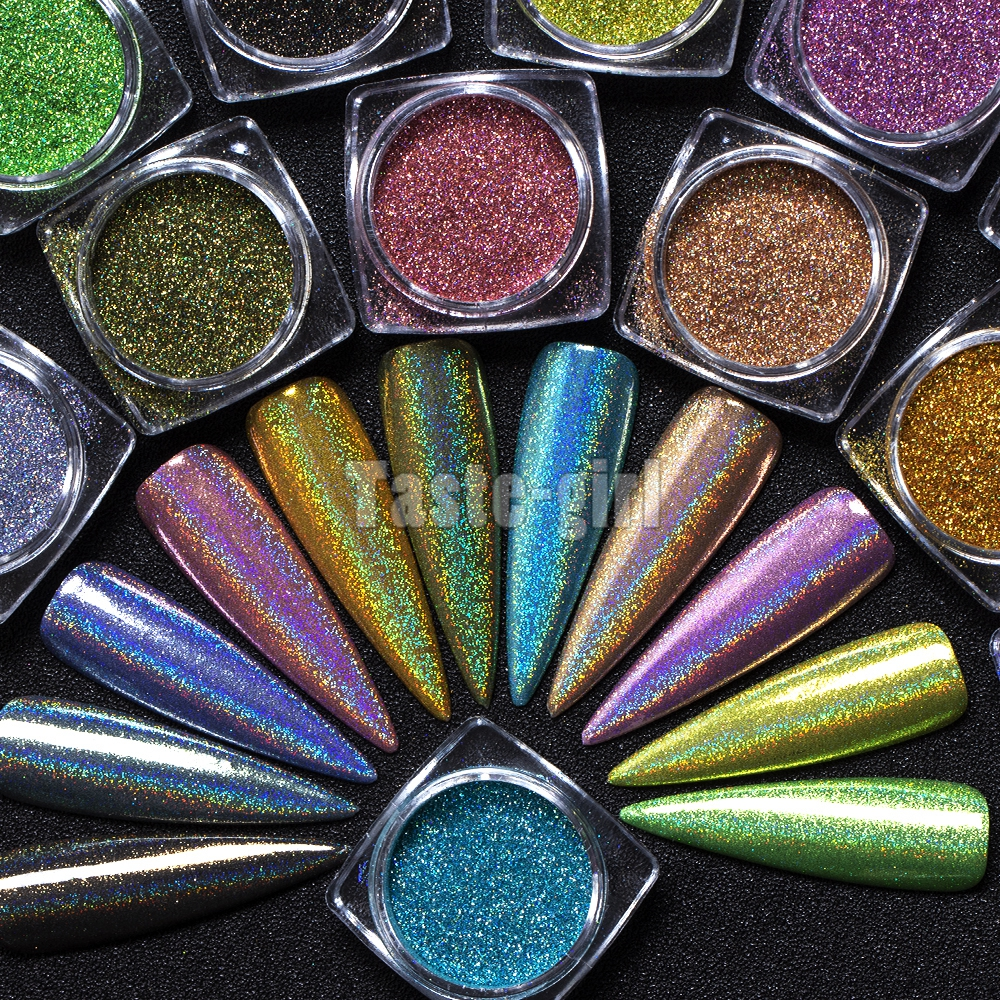 1 bottle Starry Nail Glitter Chrome Dipping Powders Holographic Laser Glitters Dust Manicure Nail Art Decorations image