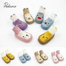 Носки для малышей Детские носки-тапочки для новорожденных на осень и зиму противоскользящая обувь носки с рисунками из мультфильмов с мягкой подошвой Новинка, для детей от 0 до 24 месяцев