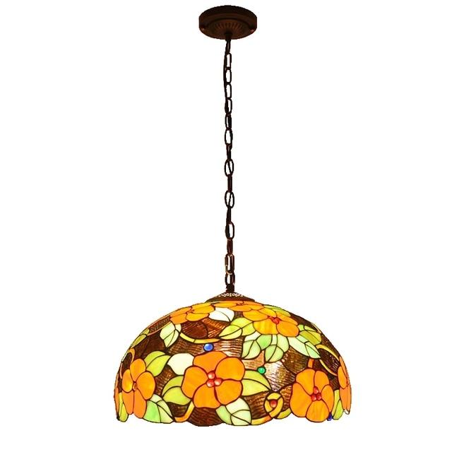 45CM européen riche fleurs lustre en verre lampe de Restaurant barre pastorale art luminaires salle de divertissement chaude