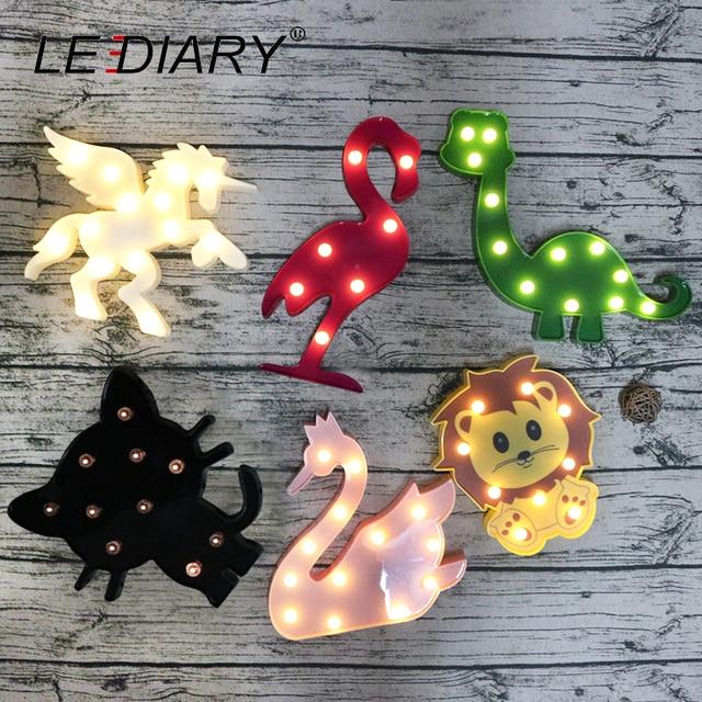 LEDIARY Colorful LED Animal Night Lights Unicorn Horse Cat Panda Lion Raccoon Dinosaur Flamingo Pink Swan Kids Toy Bedside Lamp