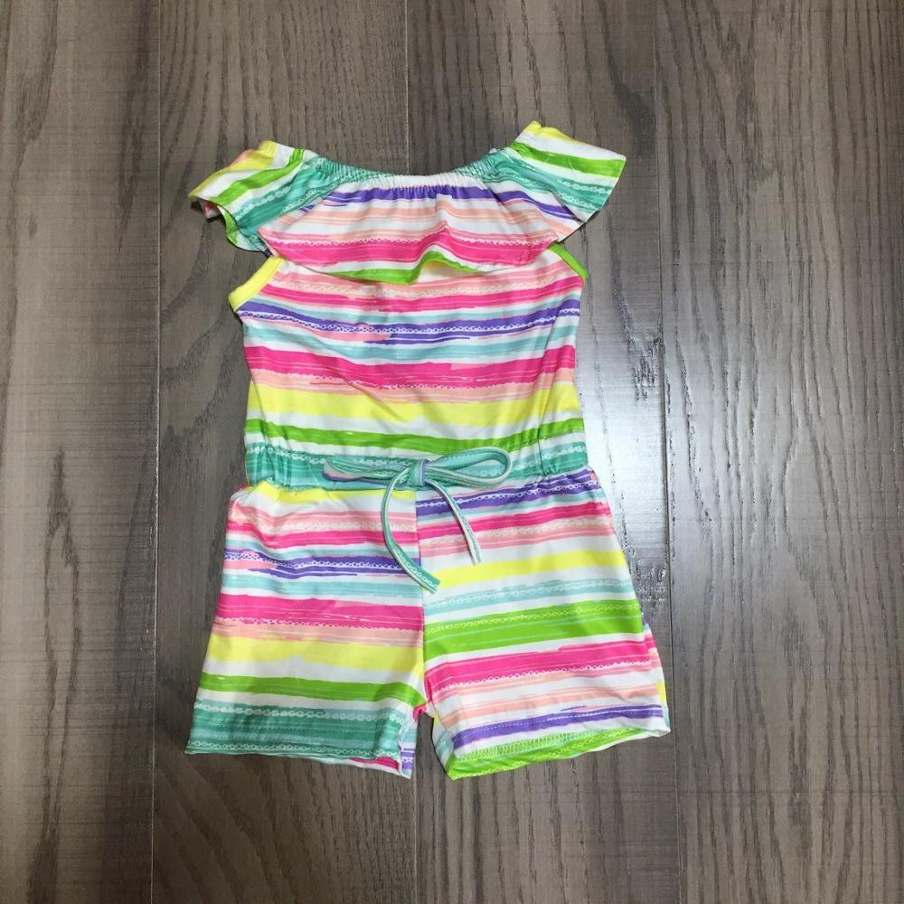 Baby Girls Rainbow Stripe Romper Baby Kid Colorful Stripe Clothing Baby Summer Romper
