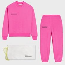 Conjunto de sweatsuit sólido para mulher duas peças outfits oversized francês terry topos e sweatpants jogger calças soltas