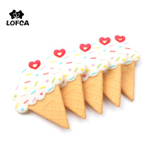 LOFCA Ice Cream Silicone Teether BPA Free Food Grade Silicone Teething Necklace Necklace