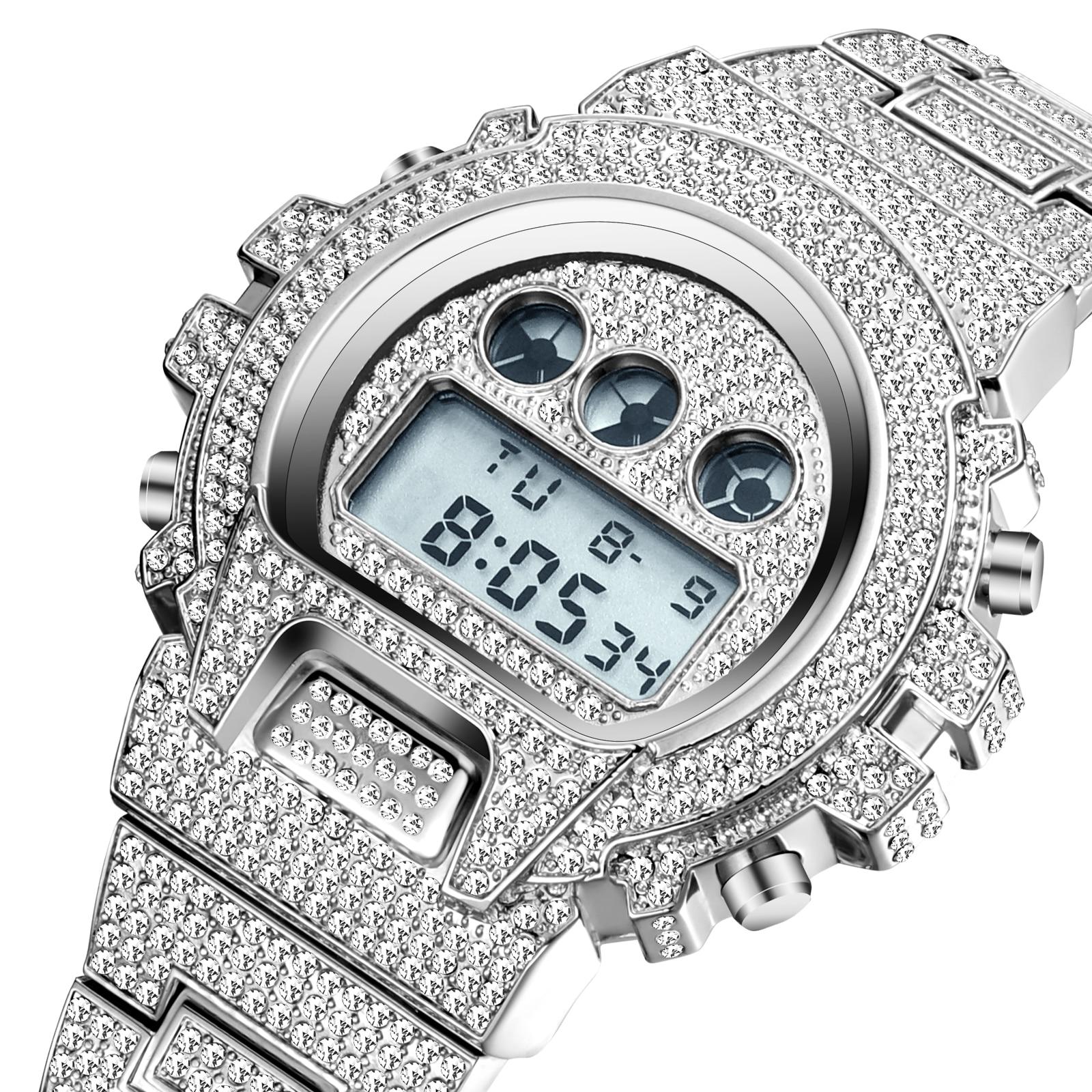 MISSFOX multifunction digital mens relógios led luz à prova de choque à prova dwaterproof água relógio masculino rado conjunto diamante completo relógio para presente masculino