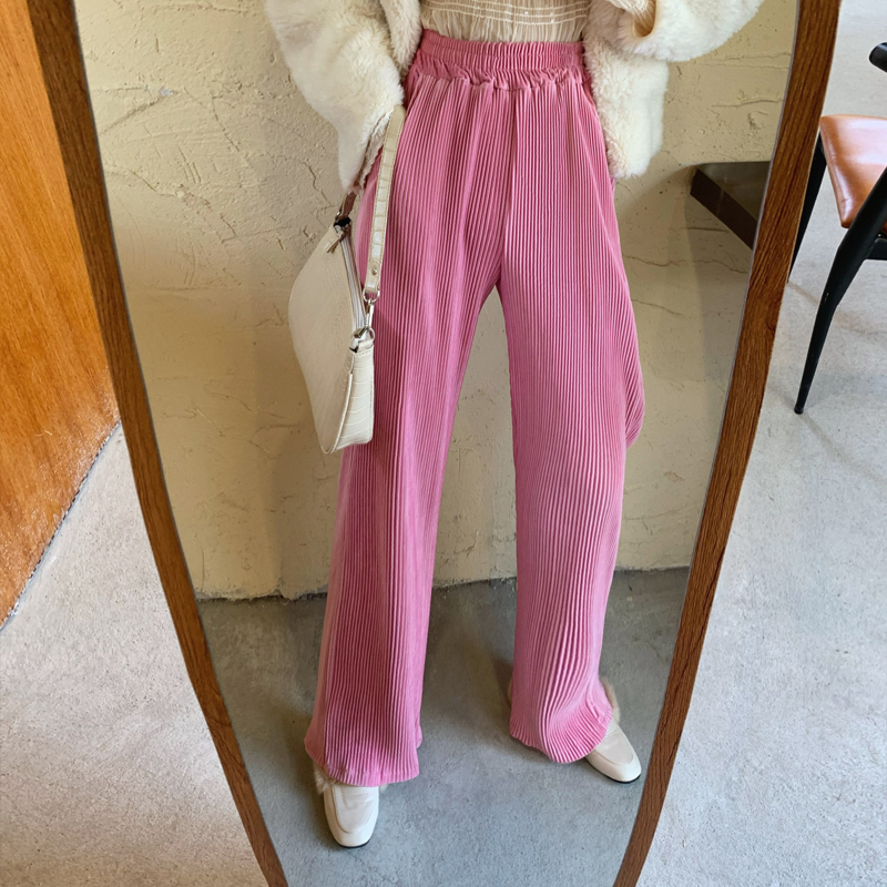 HziriP OL Style Vintage Velvet High Waist Wide Leg Pants Women 2020 New Elegant Work Trousers Female Loose Casual Pantalon Femme