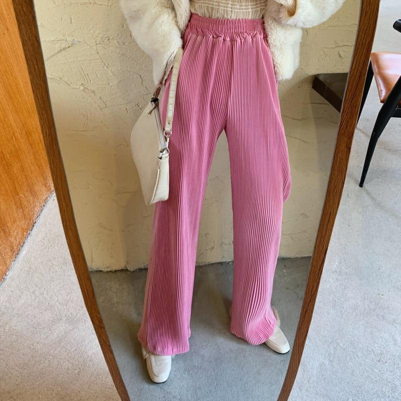 HziriP OL Style Vintage Velvet High Waist Wide Leg Pants Women 2020 New Elegant Work Trousers Female Loose Casual Pantalon Femme