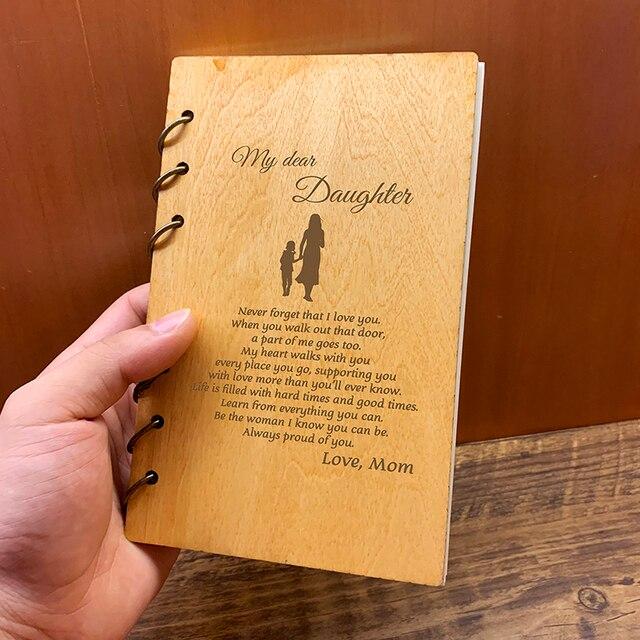 Custom Gepersonaliseerde Hout Notebook Huismus voor Planner journal Dagboek Verjaardag Kerst Anniversary Gifts Notities Nemen Schetsboek