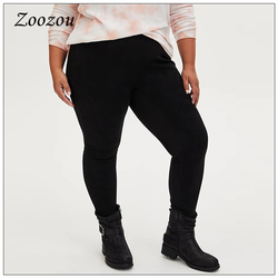Plus Size 3xl 4xl Suede Leather Women Pants Black Classic Wild Winter Seamless Leggings Sexy Skinny Slim Trousers Ladies Custom