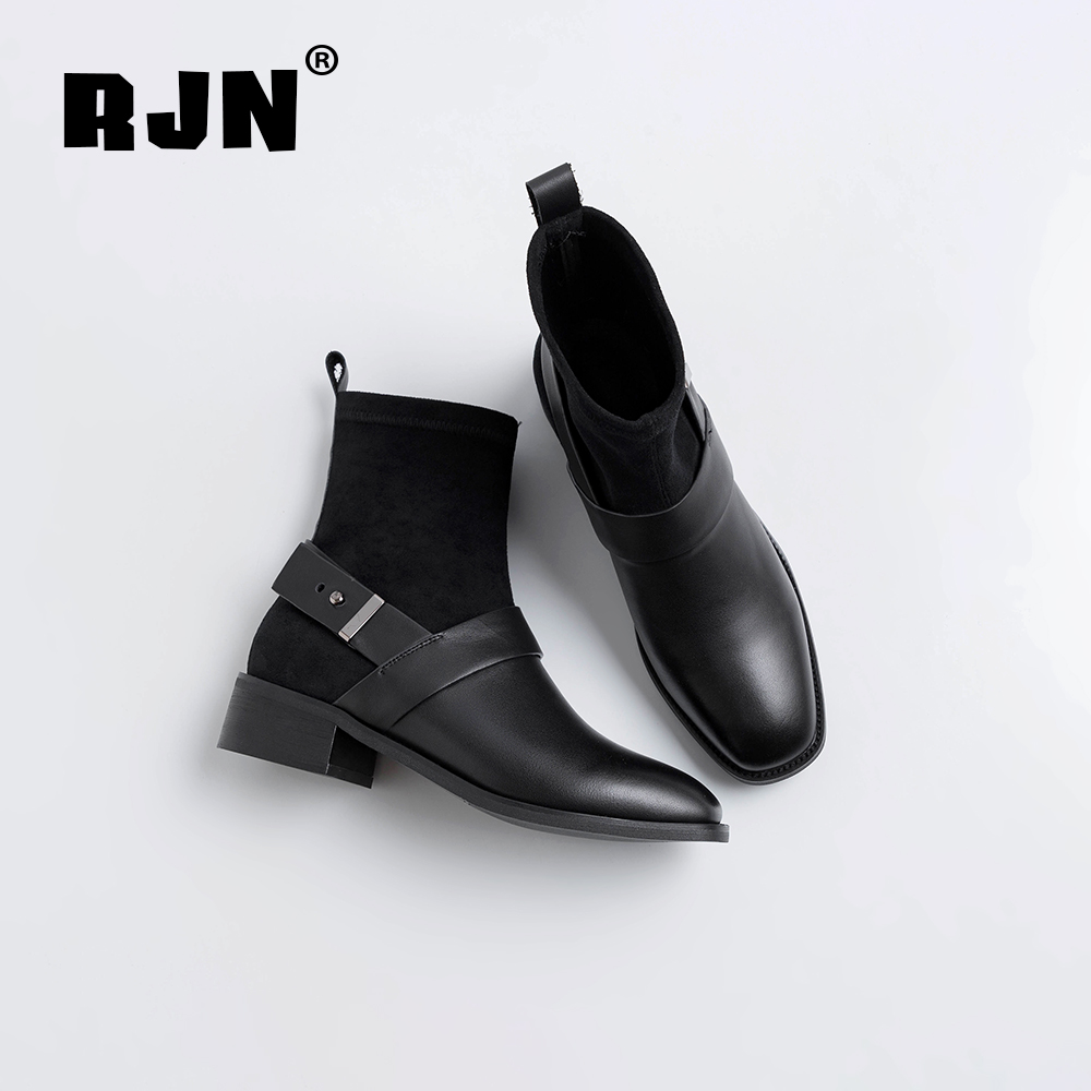 New RJN Fashion Women Ankle Boots Buckle Strap Decoration Cow Leather Square Toe Med Heel Slip-On Cool Winter Stretch Boots RO25