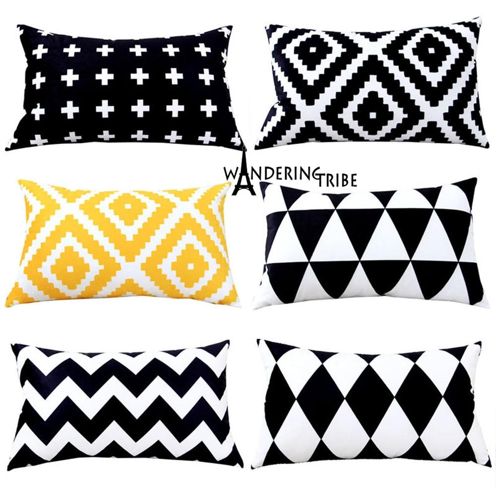 Nórdico preto branco grade capa de almofada geometria segurar sofá 30x50cm escritório cintura fronha almofadas nórdico cojines