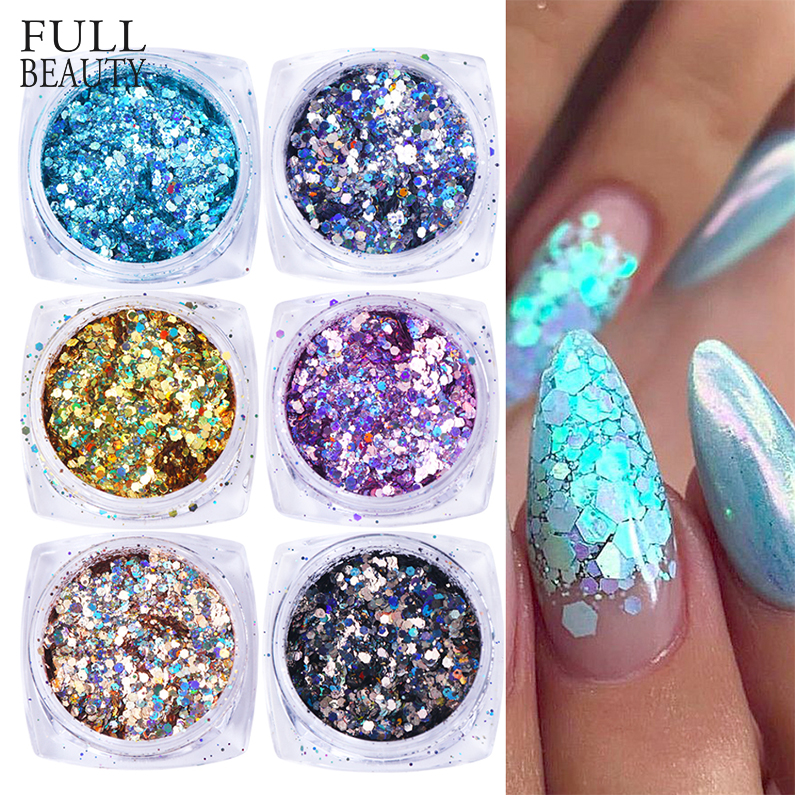6pcs Mixed Nail Sequins Glitter Hexagon On Nails Gold Holo Mermaid Flakes Paillette 3D Spangles Tips For Gel Manicure CH1539-12