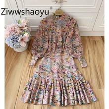 Ziwwshaoyu Elegant Flower Print Brand Autumn Winter Dress Women Lantern Sleeve Tiered Ruffles Party Mermaid Dresses