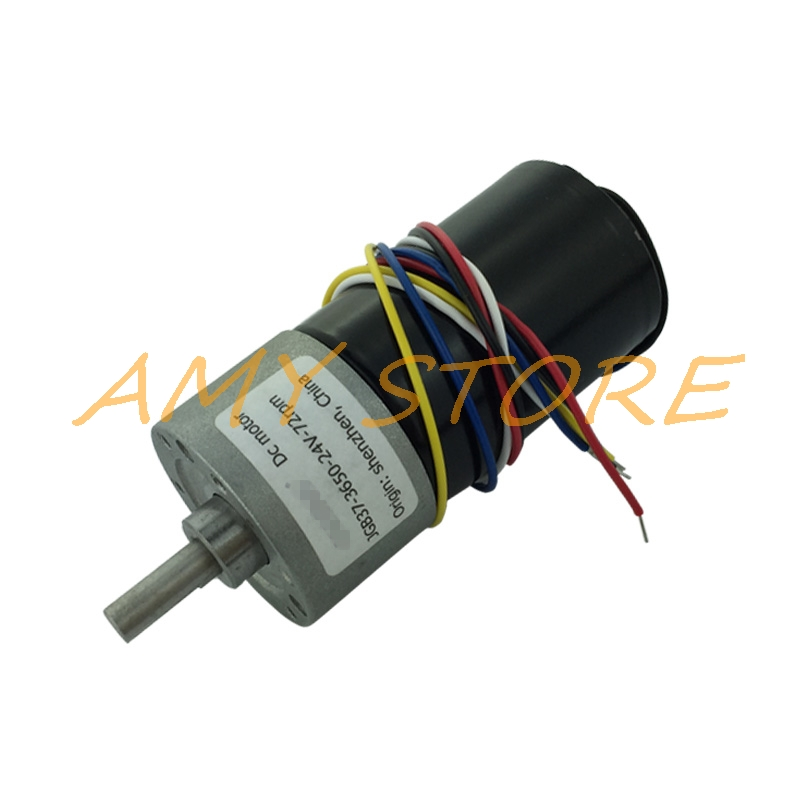 <font><b>12</b></font>-<font><b>30V</b></font> 24V 25W 5 Wire Speed Reduce Brushless <font><b>DC</b></font> Gear Motor JGB37-3650 1280/800/425/266/216/142/88/60/47/29/15/9RPM PWM FG Pluse image