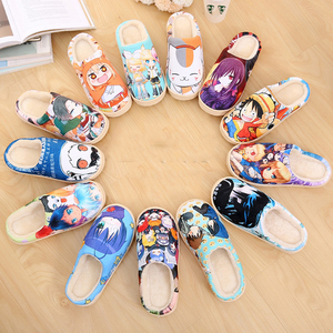 Image 5 - Drop Ship Winter Home Slippers Luffy Men Women Slippers Plush Japanese Cosplay Cartoon Slippers Anime Naruto One Piece