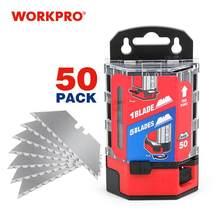 WORKPRO – lames de couteau dentelé SK5, en acier, robuste, utilitaire, lot de 50 pièces