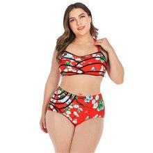 Сексуальные бикини размера плюс, женская одежда для плавания, Женский комплект бикини с большой чашкой E, купальный костюм с пуш-ап принтом, одежда для плавания