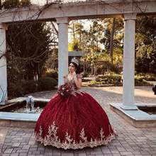 Красное Бальное Платье расшитое бисером Пышное с золотыми аппликациями