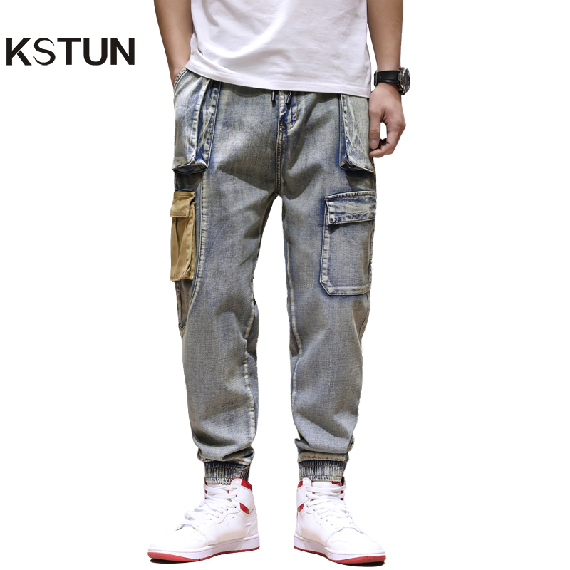 KSTUN Fashion Streetwear Men Jeans Loose Fit Vintage Harem Pants Multi Pockets Denim Cargo Pants  Hip Hop Jogger Jeans Men Homme