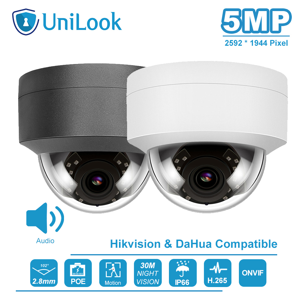 Hikvision Compatible 5MP Dome POE IP Camera Outdoor Buid-in-Mic Home Security Camera CCTV Surveillance IP66 IR 30m ONVIF H.265