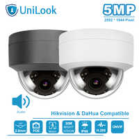 Unilook(Hikvision Compatible) 5MP Dome POE IP Camera Outdoor Buid-in-Mic Home Security Camera Surveillance IP66 IR 30m ONVIF