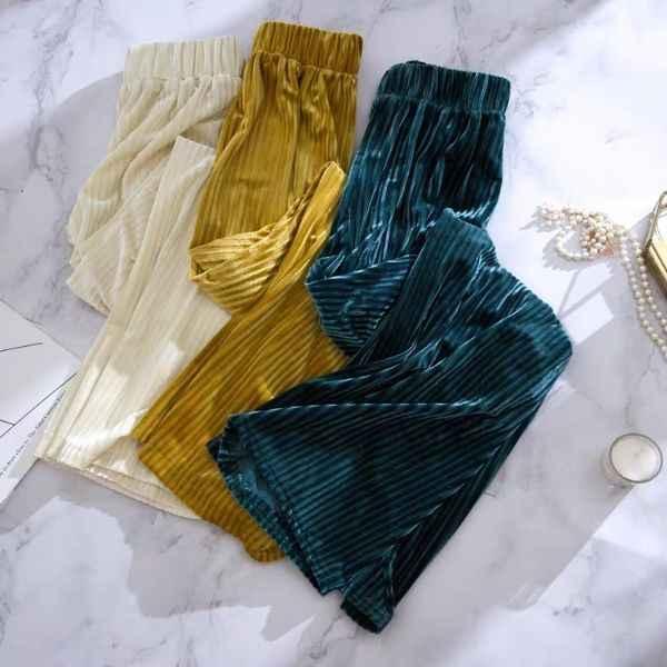 2019 Herfst Vrouwen Wide-leg Broek Velours Lange Broek Streetwear Losse Casual Womens Broek Oversized Vrouwelijke Broek Pantalones