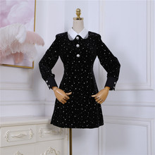 2020 new lapel long sleeve heavy industry hot drilling star pearl buckle high waist velvet A word dress women(China)