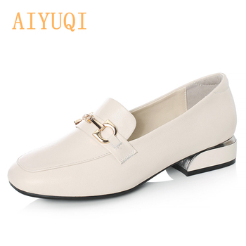 AIYUQI Size 34 Shoes Women 2020 Spring New Genuine Leather Lady Shoes Women Mid Heel Fashion Oxford Shoes Women