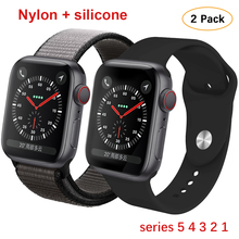 Silicone+Nylon strap For Apple Watch band 44mm 40mm iwatch 38mm 42mm Sport bracelet Rubber watchband for apple watch 5 4 3 2 1 sport watch strap for apple watch 3 2 1 4 iwatch band 42mm 38mm 44mm 40mm natural silicone bracelet wrist belt rubber watchband