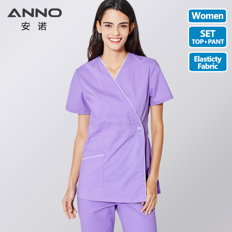 ANNO Medical Scrubs Set Body Nurse Uniform For Women Clinical Clothing Shirt Pant Beauty Salon Wok Wear Nursing Gown
