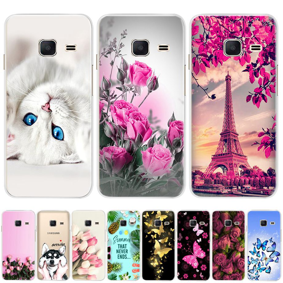 phone Case For <font><b>Samsung</b></font> <font><b>J1</b></font> <font><b>Mini</b></font> J105 <font><b>J105H</b></font> <font><b>Samsung</b></font> <font><b>Galaxy</b></font> <font><b>J1</b></font> 2016 J120 J120F <font><b>SM</b></font>-J120F Cover Coque bumper Silicone TPU Flower Case image