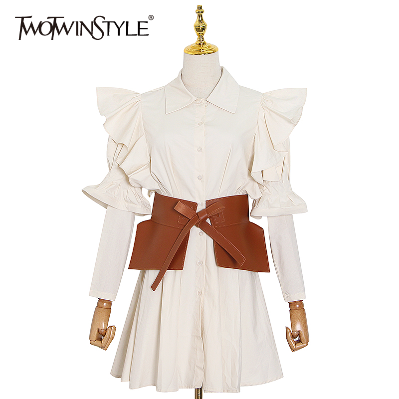 TWOTWINSTYLE Elegant Patchowrk Ruffle Women Shirt Dress Lapel Long Sleeve High Waist With Sashes Dresses Female 2020 Summer New