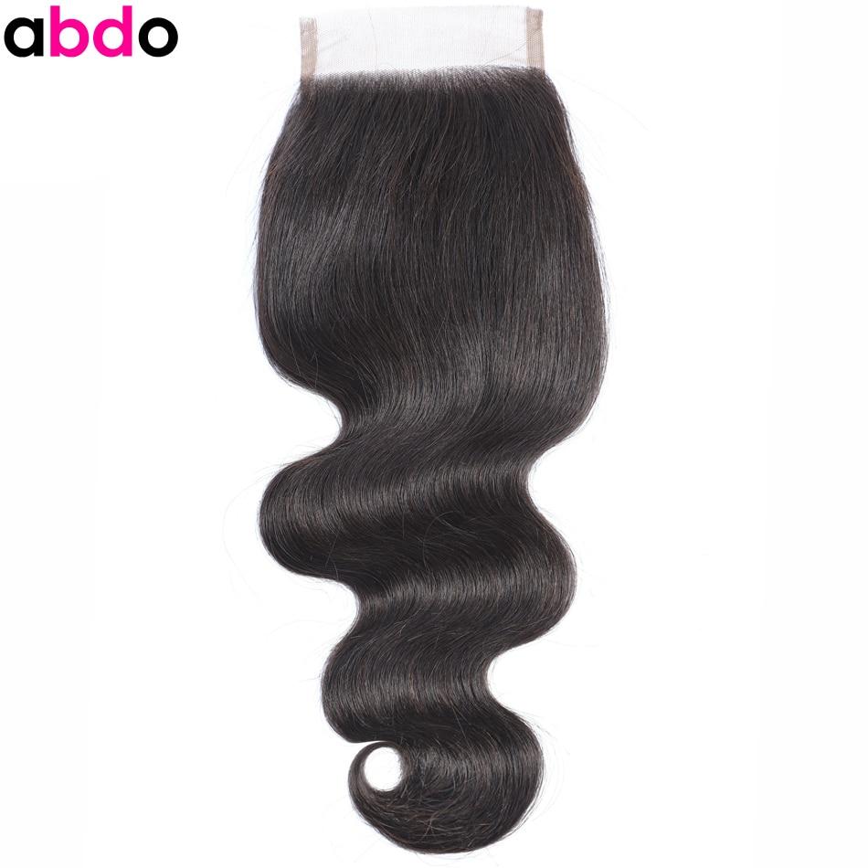 Abdo 4×4 Lace Closure Body Wave Closure Brazilian Closures Natural Color Remy Hair 100% Human Hair Closure Piece Frontal Closure